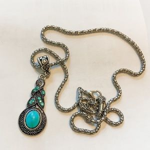 3 for $15 // Turquoise Pendent Silver Necklace